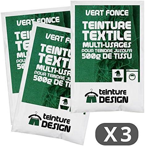 Set de 3 bolsas de tinte textil – Verde oscuro – Tintes universales para ropa y tejidos naturales