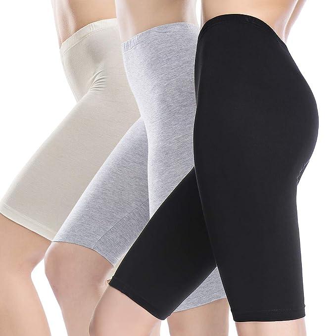 MANCYFIT Slip Shorts for Women Short Leggings Mid Thigh Legging Plus Size Undershorts Flat 3 Pack Black/Gray/Beige Small