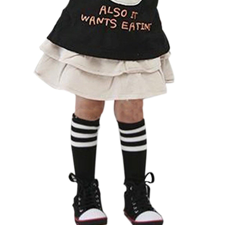 Norbi Little Girls Knee High Cotton Stripes School Stocking (2-7Y) Black)