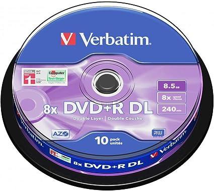 Verbatim 43666 8.5GB 8x Double Layer DVD+R Matt Silver - 10 Pack ...