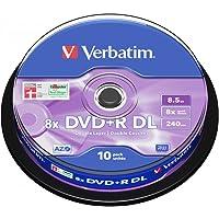 Verbatim DVD+R DL 8.5GB 10Pk Spindle 8X Silver 8.5GB