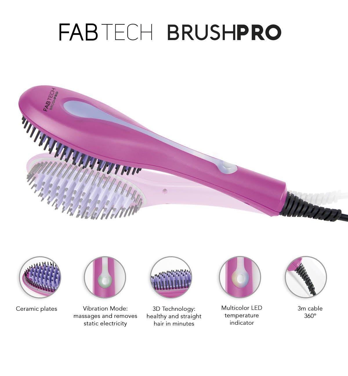 Cepillo alisador 3D iónico con vibración - Fabtech Brushpro: Amazon.es: Salud y cuidado personal