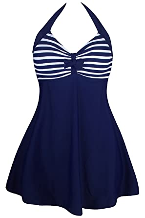 22fd335be3 QUEENIE VISCONTI Women One-Piece Swimsuits Skirt Retro Halter Stripes  Swimdress at Amazon Women s Clothing store
