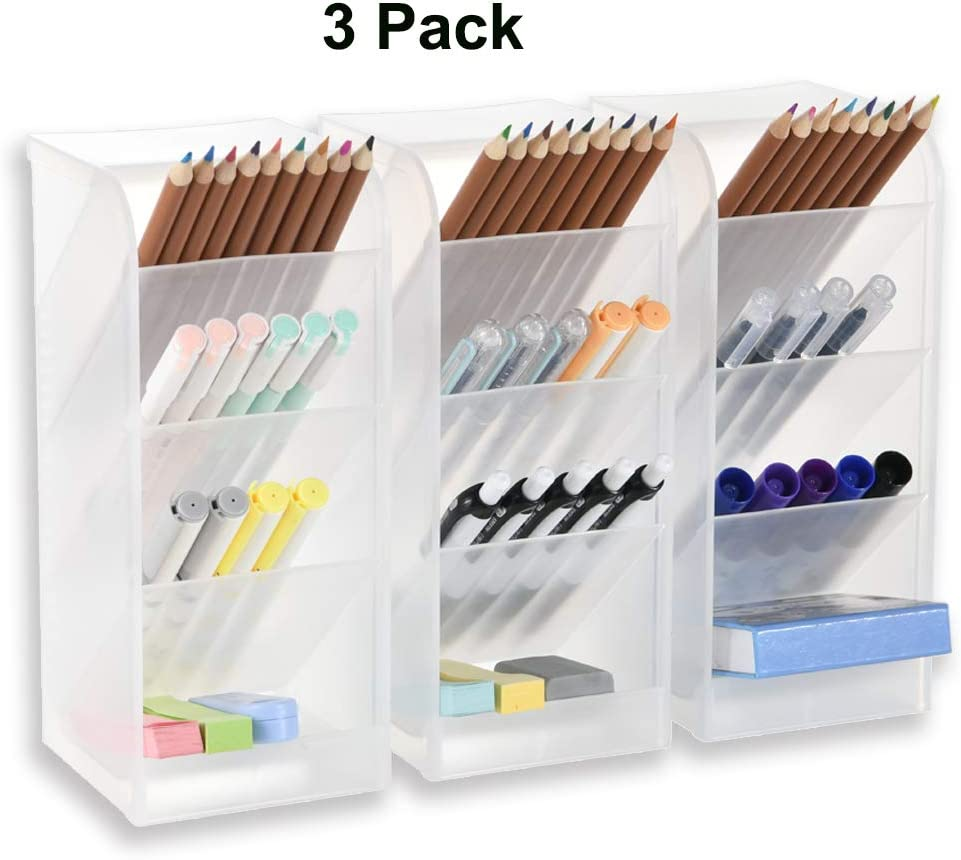 3 Pcs Big Desk Organizer- Pen Organizer Storage for Office, School, Home Supplies, Translucent White Pen Storage Holder, High Capacity, Set of 3, 12 Compartments (White Big Pen Holder)