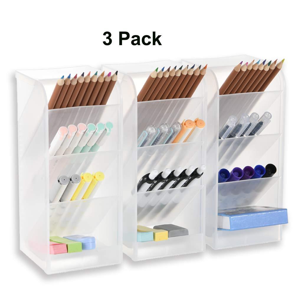 3 Pcs Big Desk Organizer- Pen Organizer Storage for Office, School, Home Supplies, Translucent White Pen Storage Holder, High Capacity, Set of 3, 12 Compartments (White Big Pen Holder) by Marbrasse