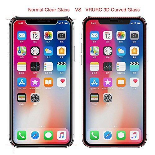 VRURC iPhone X Screen Protector, 5D Curved 9H Hardness Tempered Glass Screen Protector for iPhone X, HD Full Coverage iPhone X/10 Glass Protective Film [Bubble Free] [3D Touch]–Black Photo #8