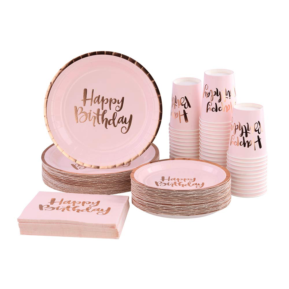 Ottin Pink Happy Birthday Party Packs for 50 Guests, Rose Gold Foil Paper Plates and Napkins Set, Perfect for Birthday, Anniversary, Party Supplies (Happy Birthday Paper Dinnerware, 50 Guests)