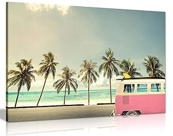 Caravana en la playa con una tabla de surf lienzo pared Art imagen impresión, A0 91x61cm (36x24in): Amazon.es: Hogar