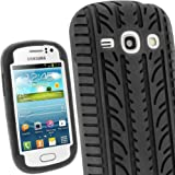 iGadgitz Black Silicone Skin Case Cover with Tyre Tread Design for Samsung Galaxy Fame S6810 Android Smartphone Mobile Phone + Screen Protector