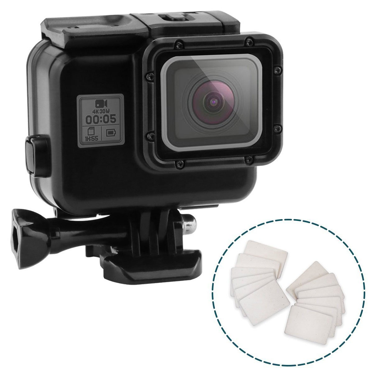 Impact Imagery - Blackout Underwater Housing for Gopro Hero 5 6 & 7 with Anti Fog Inserts - Matte Protective Waterproof Dive Shell - 40m Deep Water Scuba Case - Includes Solid & Touch Back Door Option