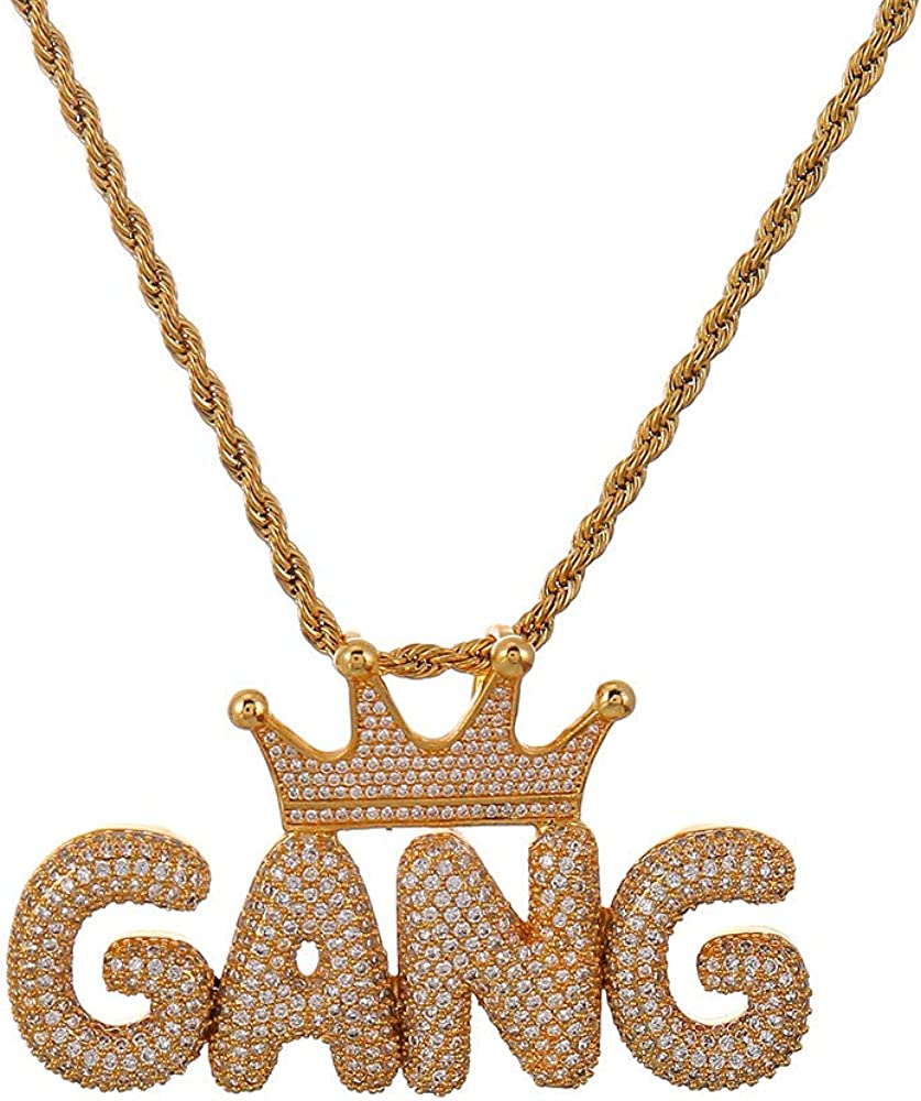 YIMERAIRE Bubble Custom Name Chain CZ Crowned Initial Necklace Letter Pendant Hip Hop Men Woemn Jewelry with Free Rope or Tennis Chain