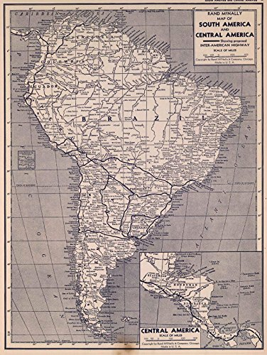 National Atlas   1940 Map of South and Central America   Historic Antique Vintage Reprint