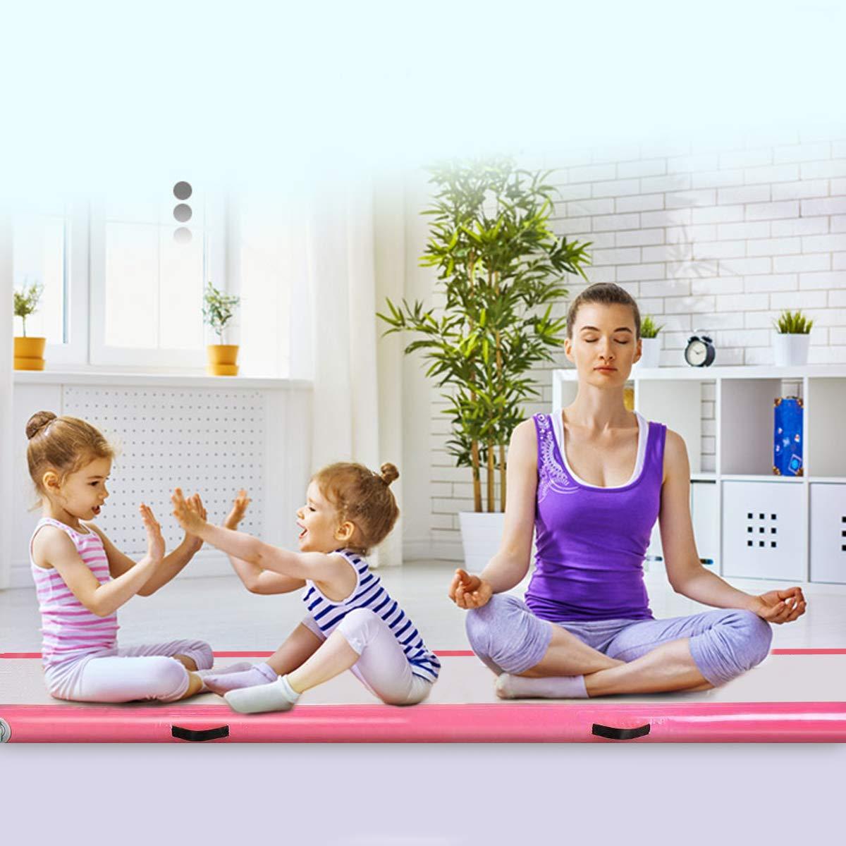 KingSaid 10FT x 3FT Inflatable Gymnastics Mat Air Track Gymnastics Tumbling Mat Portable Gym Exercise Sport Fitness Mat Pink
