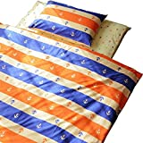 EMOOR 3-Piece 100 % Cotton Futon Cover Set (Orange), Japanese Semi-Double Size.