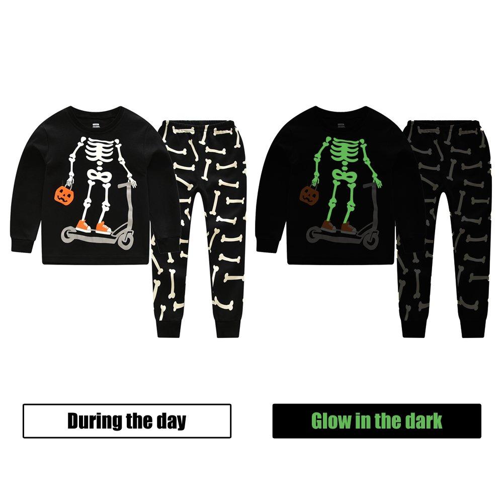 Toddler Boys Pajamas CNBABY Glow-in-the-Dark Skeleton Halloween Children Sleepwear Pjs