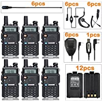 BaoFeng UV-5R,(6 Pack) Ham Radio + 6 NA-771 Antennas and Speaker Mics + 12 1800mah batteries + 1 programming cable