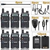 BaoFeng Radio UV-5R Dual Band Two Way Radio (6 Pack) + 6 NA-771 Antennas and Speaker Mics + 12 1800mah Batteries + 1...