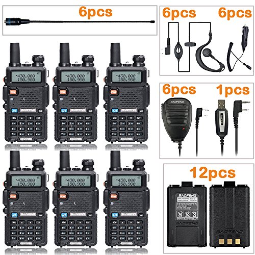 - BaoFeng Radio UV-5R Dual Band Two Way Radio (6 Pack) + 6 NA-771 Antennas and Speaker Mics + 12 1800mah Batteries + 1 Programming Cable Baofeng Walkie Talkie Ham Radio