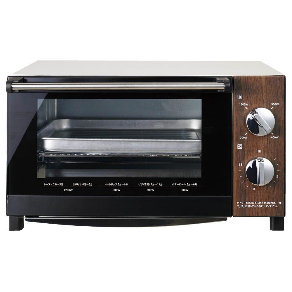 DOSHISHA PIERIA Big Toaster Oven DOT-1402 DWH (Dark wood & white)【Japan Domestic genuine products】