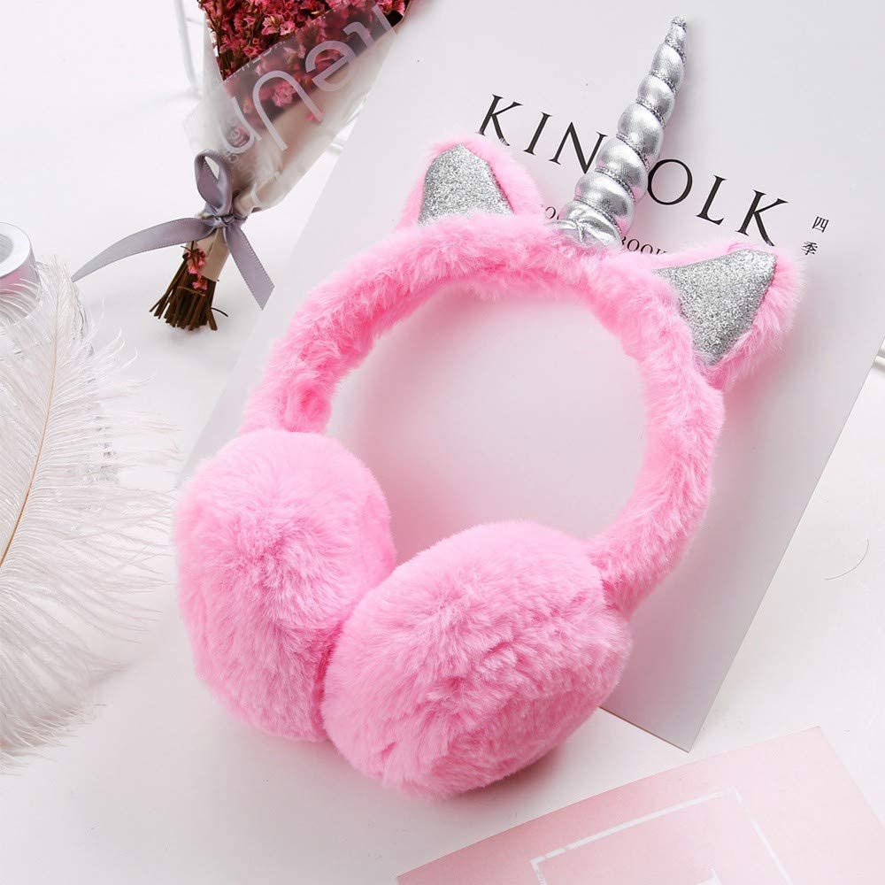 Unisex Kids Winter Plush Earmuffs Cartoon Ear Warmer Fluffy Cute Ear Muffs