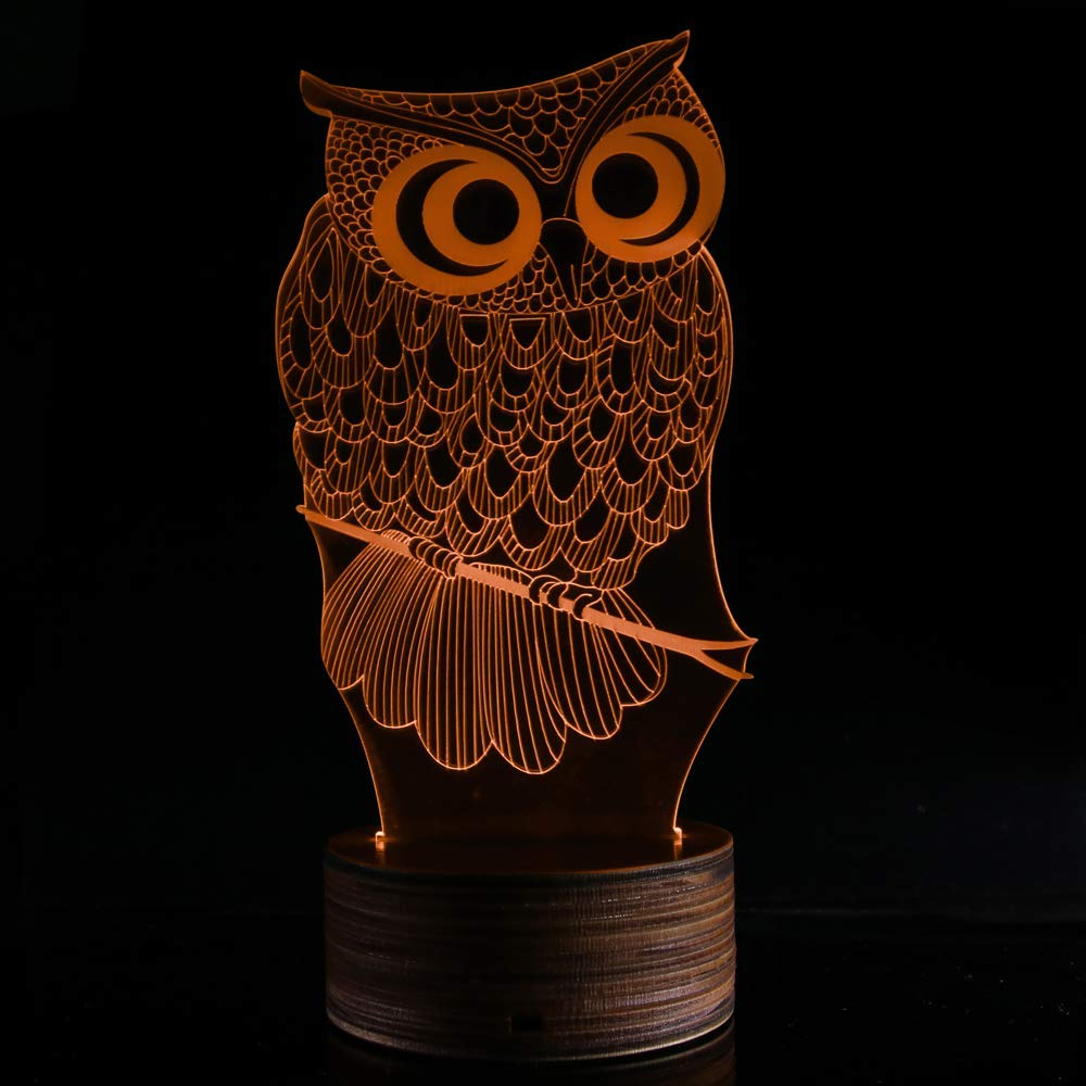 Novelty Lamp, 3D LED Lamp Optical Illusion Owl Night Light, USB Powered Remote Control Changes The Color of The Light, Furniture Desk Lamp Home Decoration Toy,Ambient Light by LIX-XYD (Image #8)