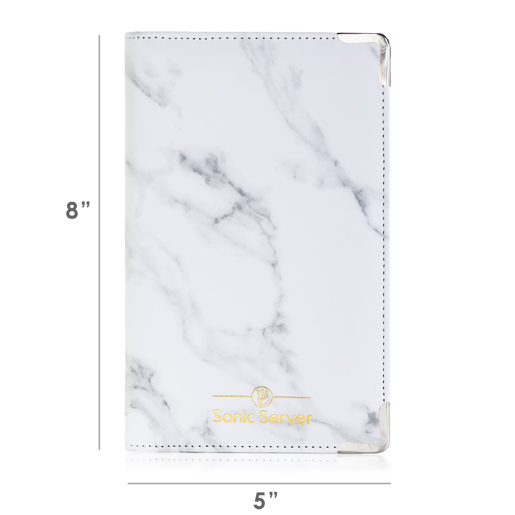 Sonic Server Marble Style Deluxe Server Book for Restaurant Waiter Waitress Waitstaff   Classy White Marble   9 Pockets includes Zipper Pouch with Pen Holder   Holds Guest Checks, Money, Order Pad by Sonic Server (Image #2)