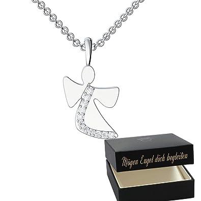 Schutzengel Kette Mädchen Kinder Taufe Silber 925 Swarovski Zirkonia Mögen Engel Dich Begleiten Etui Gravur Anhänger Glücksbringer Tauf Geschenke
