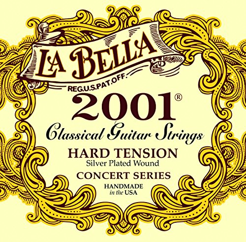 La Bella 2001 Concert Series, Classical Guitar Strings, Silver Plated Wound Basses, Hard Tension (Best Classical Guitarists Today)