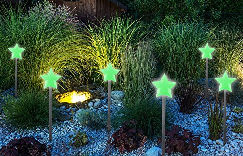 10 Pack Glow Stone Garden Stakes  Outdoor Glow in The Dark Walkway and Garden Decor