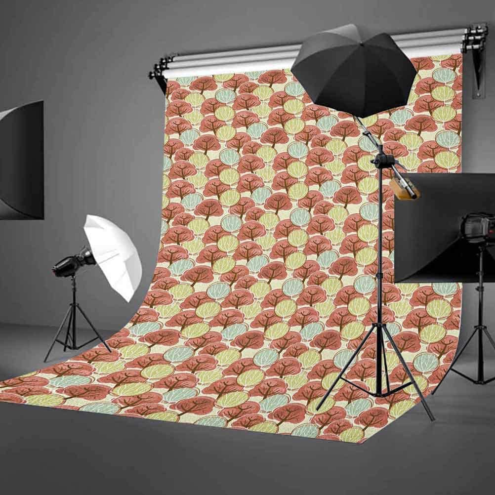 9x16 FT Doodle Vinyl Photography Background Backdrops,Cartoon Style Hand Drawn Illustration with Autumn Trees Pattern Background for Selfie Birthday Party Pictures Photo Booth Shoot