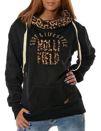BOMOVO Ladies High Neck Hoody, Sudadera Para Mujer leopardo Letras de cuello alto (Negro/gris oscuro/gris claro/caqui): Amazon.es: Ropa y accesorios