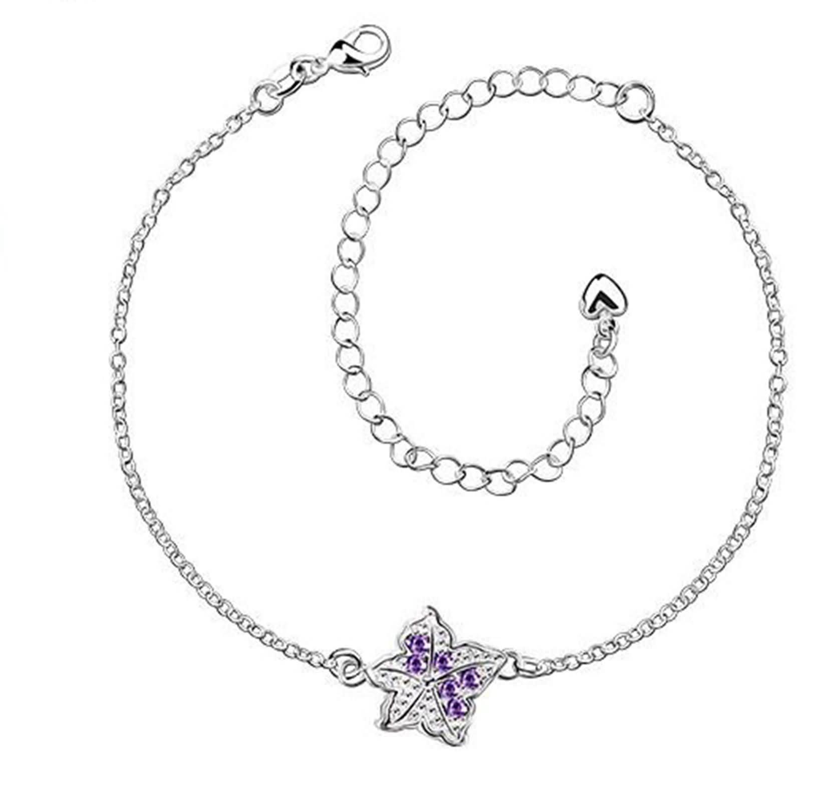 Bishilin Bohemian Anklet Summer Star Cubic Zirconia anklet adjustable 2.1 CM