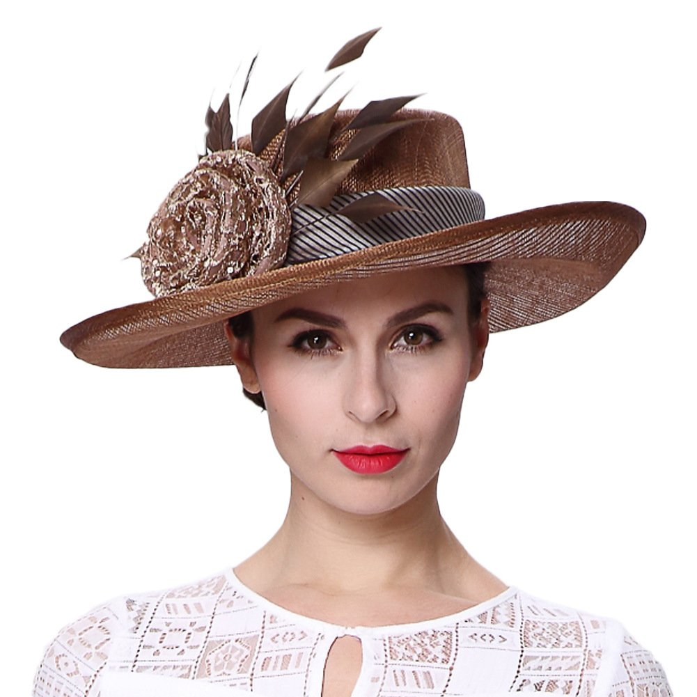 Koola's hats Champagne Brown 3 Layers Sinamay Kentucky Derby Church Sun Summer Hats MM-0083