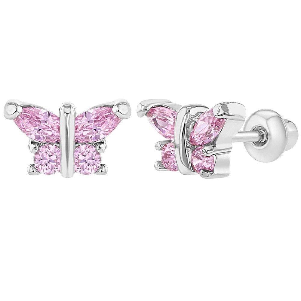 rhodium plaqué Rose CZ Petit papillon à vis arrière tout-petits Fille Boucles d'oreilles In Season Jewelry
