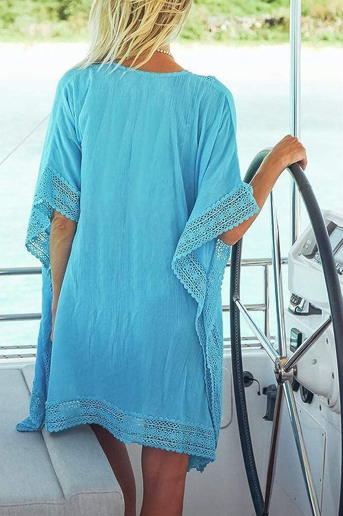 FreestyleMo Damen Strandponcho Sommer Elegant Spitzen Tunika Bikini Cover Up Boho Strandkleid