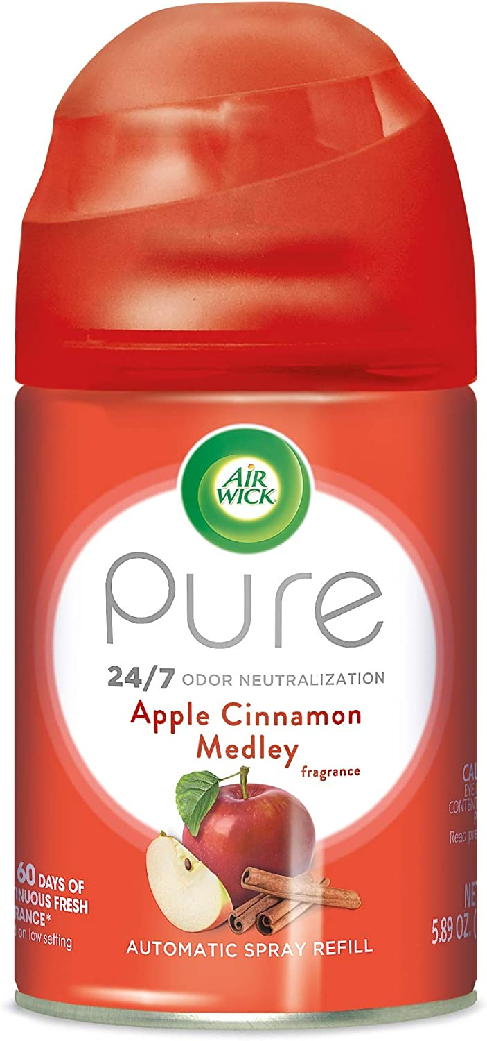 Air Wick Pure Freshmatic Refill Automatic Spray, Apple Cinnamon Medley, 1ct, Air Freshener, Essential Oil, Odor Neutralization, Packaging May Vary