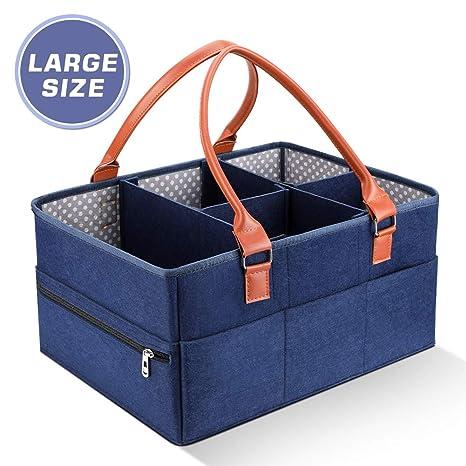 Bebé Pañales Caddy Cesta de Almacenamiento Bolsa Plegable Organizador Fieltro con 5 Separador Desmontable y 10