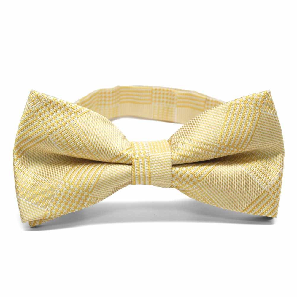 TieMart Sunflower Yellow Michael Glen Plaid Band Collar Bow Tie