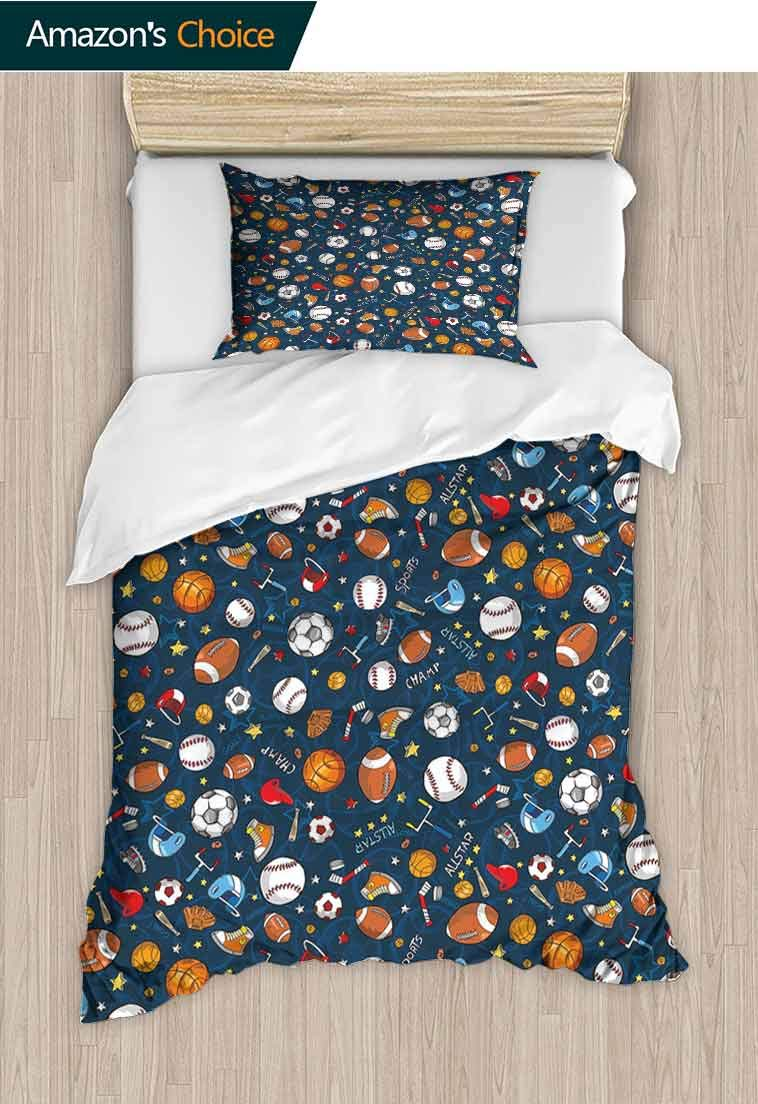carmaxshome Sport Printed Duvet Cover and Pillowcase Set, Many Basketball Baseball and Football Icons Champ Gloves Dark Background, 2 Piece Bedding Quilt Coverlets - 100% Cotton Bed Quilts Coverlet