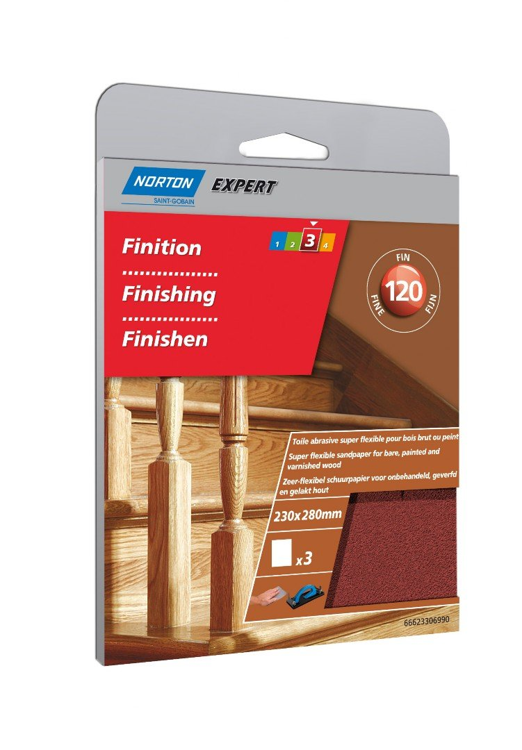 Norton Sandpaper Super-Flexible Grain Size 120/230 x 280 mm/Pack of 3 66623306990