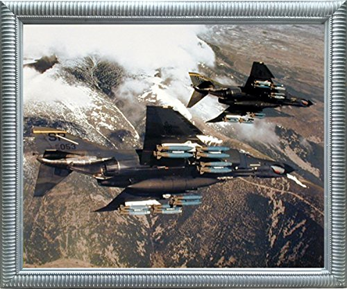 Impact Posters Gallery Aviation Framed Poster - F-4E Phantom with Missiles Military Jet Vintage Wall Decor Silver Art Print ()