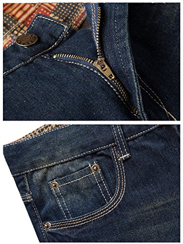 FEESON Men's Straight Leg Slimming Fit Distressed Loose Denim Jeans Dark Blue W30 by FEESON (Image #4)