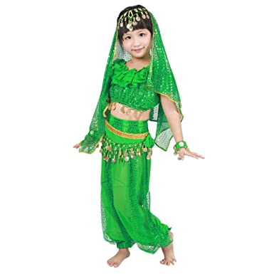 Kindoyo 5 Pcs Girls Indian Belly Dance Costume Professional Dance