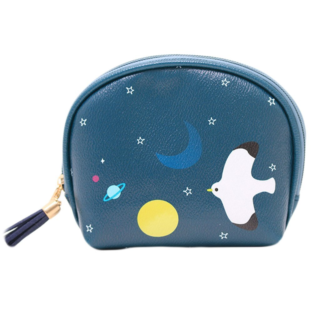 Leisial™ Mini Kosmetiktasche Leder Geldbörse Mädchen Kosmetiktasche Damen Nette Karikatur Geldbörse Blau Make-up Tasche