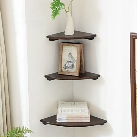 SjYsXm Floating shelf Set di 3 Mensole angolari in Legno