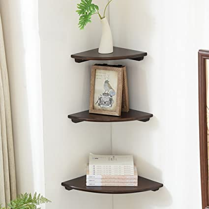 Mensole In Legno Angolari.Sjysxm Floating Shelf Set Di 3 Mensole Angolari In Legno Mensole In