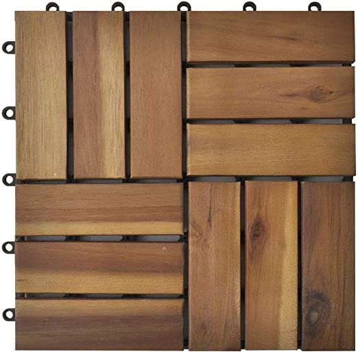 Tidyard Decking Tiles Interlocking Flooring Patio Pavers /& Composite for Outdoor /& Indoor11.8 x11.8 Acacia Set of 30