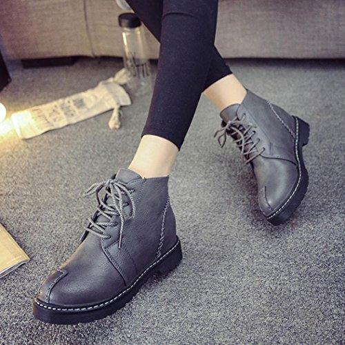 OverDose Mode Fraun Breathable Ankle Boots Lace-up Low Heels Herbst Stiefel Vier Jahreszeiten Freizeit Schuhe Braun