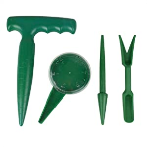 Garden Hand Tool Sow Traditional Sets Pistol Grip Dibber, Sowing Seeds Dispenser, Seedlings Dibber and Widger