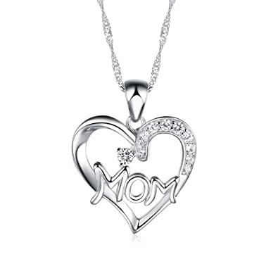 Amazon 925 sterling silver mom heart pendant necklace including 925 sterling silver mom heart pendant necklace including singapore chain 16 20 inch mozeypictures Image collections